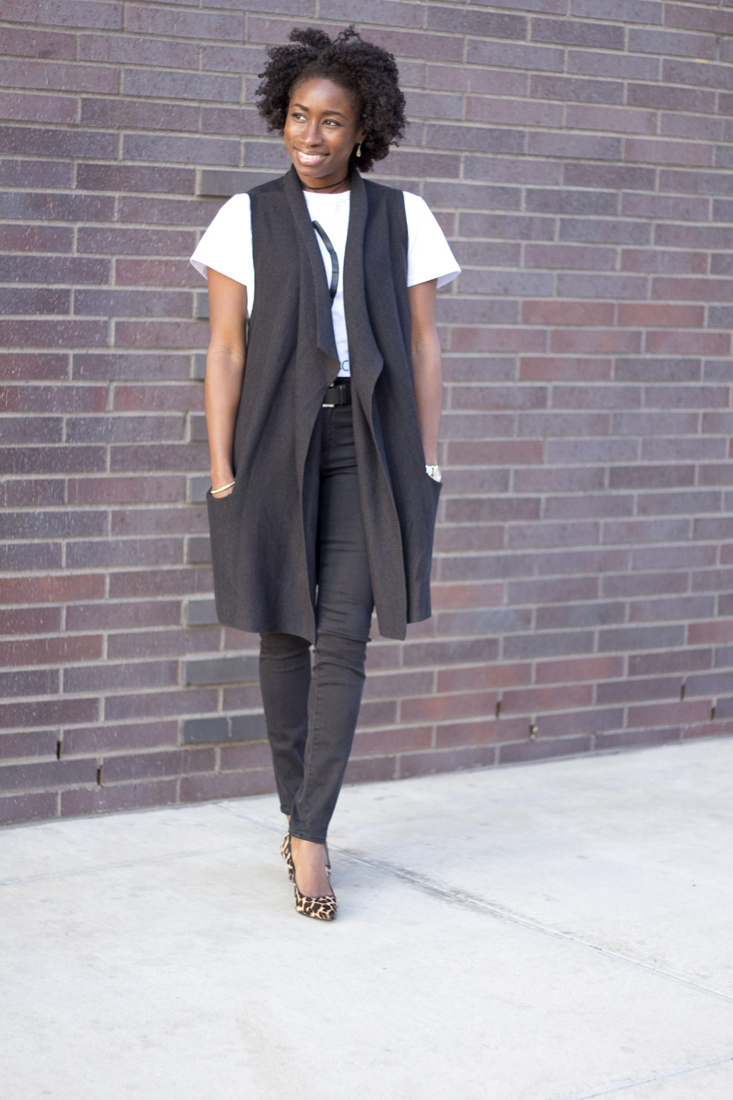 how to wear a long sweater vest