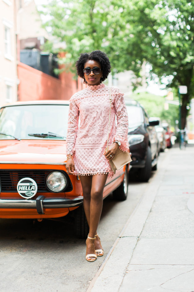 The Prettiest Pink Lace Pom-Pom Dress